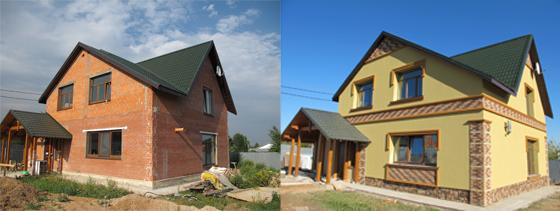 Фасад здания до и после утепления